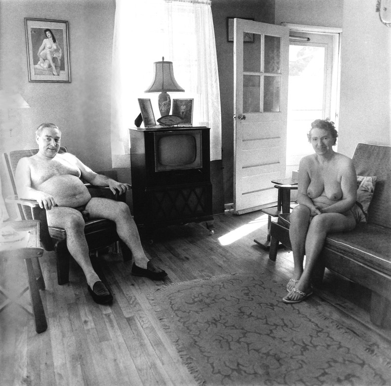 Diane Arbus, Retired Man and his Wife at Home in a nudist Camp one morning